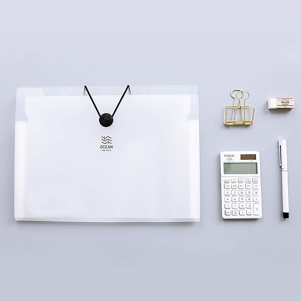 Uquelic Wei/ß Transparent 8 Taschen F/ächermappe A4 2Pcs Erweiterbar Ordnungsmappe A4 Tragbar Sortiermappe A4 Kunststoff Akkordeon A4 Datei Ordner Dokumententasche