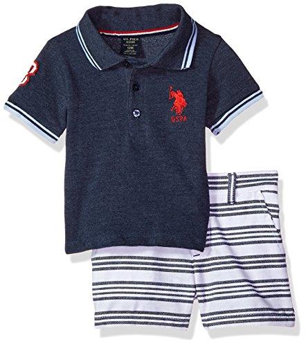 U.S. Polo Assn. Baby Boys Polo Shirt Set, Applique Sleeve Stripe Short Multi Plaid, 3-6 Months