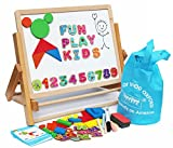Toys of Wood Oxford Wooden Easel for Children - Foldable Double Sided Magnetic Boards with magnetic shapes, alphabet numbers and paper roll