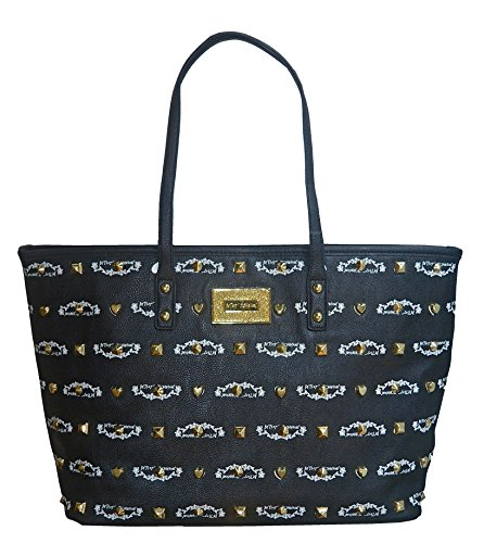 Betsey Johnson E.W. Signature Logo Stud Tote Purse Handbag Bag - Store Michael Kor Locator