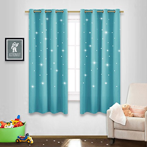 NICETOWN Twinkle Star Curtains for Baby - Kid Sky Wonder Star Cut Out Functional Room Darkening Curtains for Babys Nursery, 52 by 63-Inch, Turquoise, 2 Pieces
