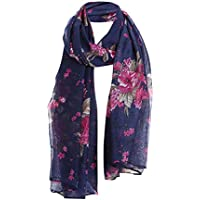 Litetao Women Beautiful Flowers Print Pattern Lace Long Scarf Warm Wrap Soft Shawl
