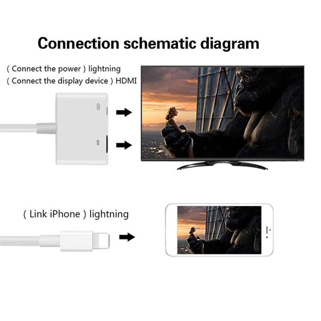 Xuniu para iPad a HDMI Adaptador para Lightning to Digital AV HDMI 4K USB Cable Connector