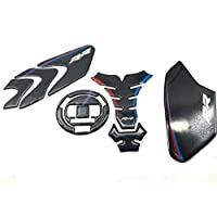 Red Blue Real Carbon 3D Sticker Decal Emblem Protection Tank Pad Gas Cap For BMW S1000RR 09-17
