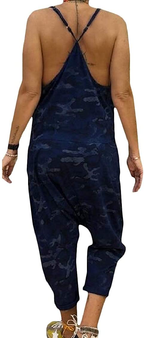 Sweatwater Women Loose Baggy Camo Spaghetti Strap Backless Rompers Jumpsuits