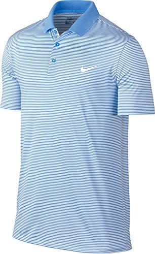 (Nike Men's Dri-FIT Victory Mini Stripe Golf Polo, (University Blue/White, S))
