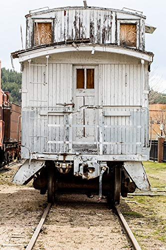 (Home Comforts Peel-n-Stick Poster of Cars Train White Wooden Antique Caboose Windows Vivid Imagery Poster 24 x 16 Adhesive Sticker Poster Print)