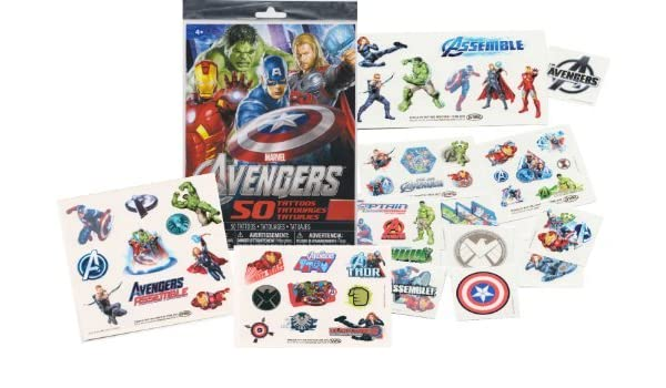 Marvel VENGADORES Tatuajes temporales - 50 Tatuajes - Iron Man ...