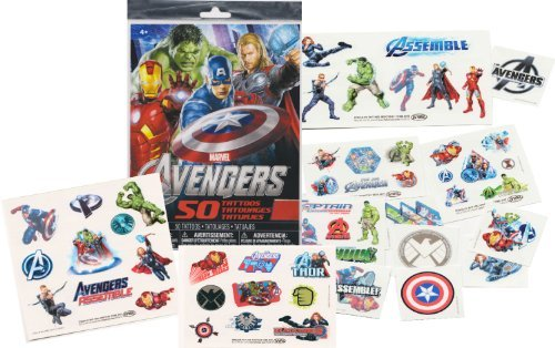Marvel AVENGERS Temporary Tattoos - 50 Tattoos - Iron Man, Thor, Hulk, Captain America and more! by -