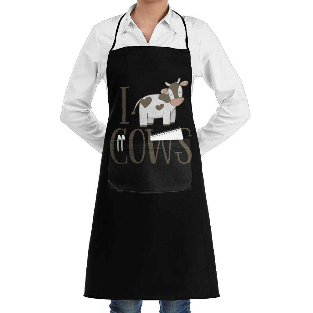 I Love Cows Cow Lover Gifts Cooking Kitchen Aprons With Pockets Bib Apron For Cooking, Baking, Crafting, Gardening, BBQ