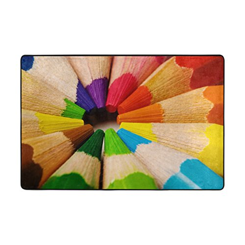Crayons Rug - Ethel Ernest Non-slip Doormat Cool Rainbow Crayon Area Rug Carpet Floor Mats Door Mat Indoor Outdoor Bathroom