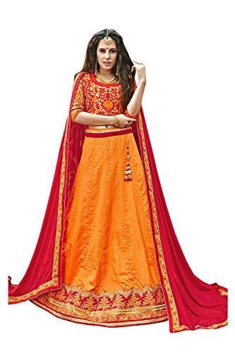 Da Facioun Indian Women Designer Wedding RED ORANGE Lehenga Choli SS-12006