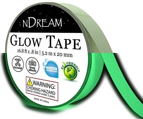 Glow in The Dark Luminous Tape 1 Roll 16.8 ft x .8 in, Bright Neon Green Glow Party Tape, Glow in Dark Sticker, Paper Or Paint Alternative, Waterproof, Sticks to (Reflective Glow Strips)
