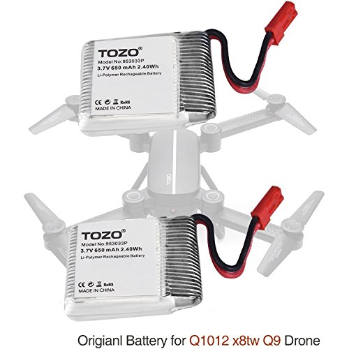 TOZO Lithium battery for Q1012 X8tw Drone [Q3030 drone NOT compatible] RC Quadcopter Remote Quadcopter.[ 2PCS ]