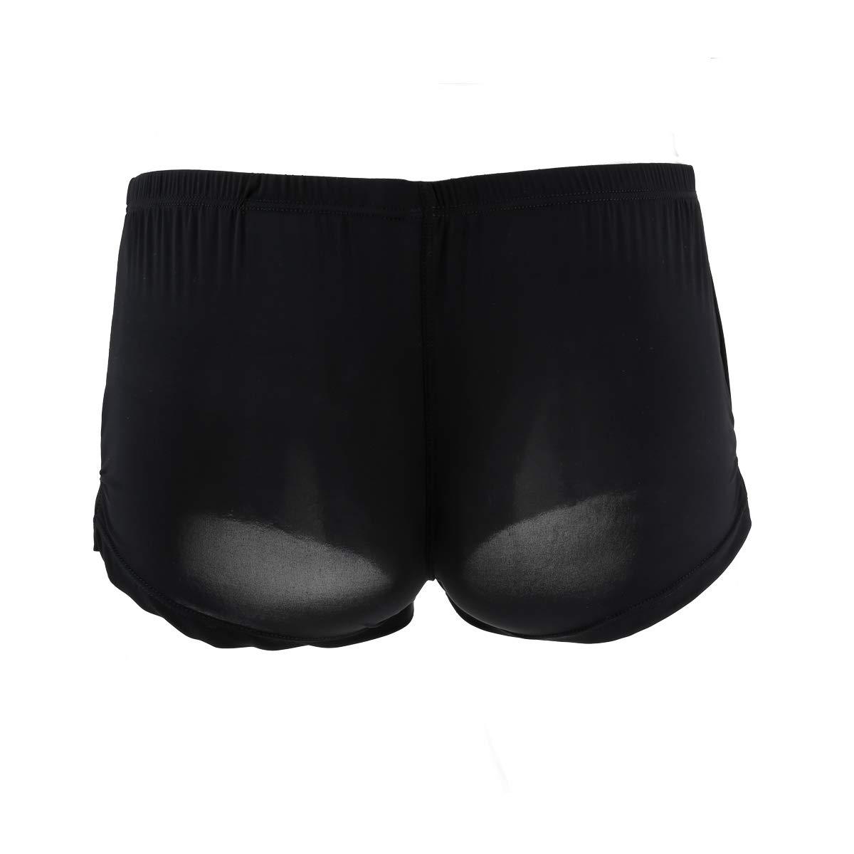 Men Boxer Shorts Solid Ice Silk Underwear U Convex Pouch Underpants Male Arrow Pants