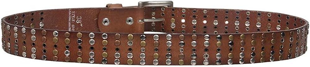 MONIQUE Men Cowhide Metal Circle Studded Vintage Oil Tanned Leather 1.5 Belt