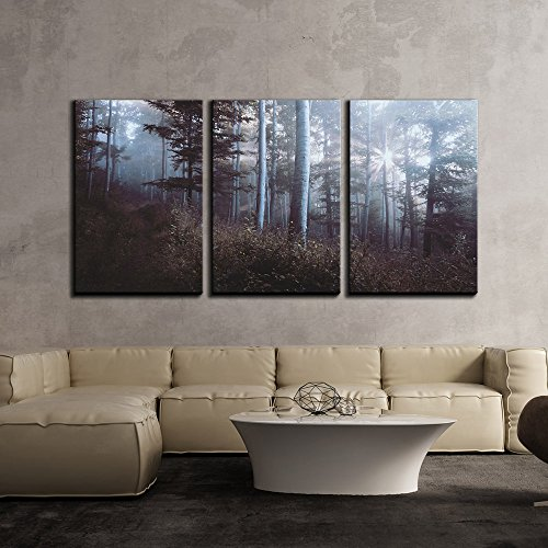 Fall Landscape of Misty Forest with Sunlight x3 Panels
