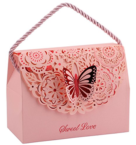 20pcs Wedding Decorative Boxes Gift Bags Butterflies with Handle, DriewWedding Party Favor Bags Paper for Anniversary, Birthday Parties, Baby Shower, Bridal Showers - Pink, 5.8