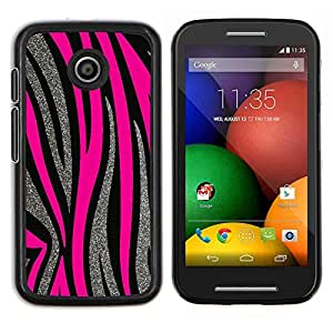 Caucho caso de Shell duro de la cubierta de accesorios de protección BY RAYDREAMMM - Motorola Moto E - Patrón Plata Líneas rosadas del animal de piel