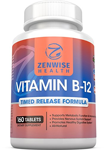 Vitamin B12 – 1000 MCG Supplement – Natural Energy Booster – Benefits Heart, Digestive and Brain Function – 160 Count Timed Release Tablets