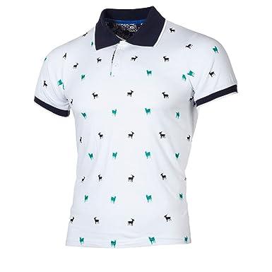 Cebbay Camisa de Polo Impreso Delgado de Negocios Casual Camisetas ...