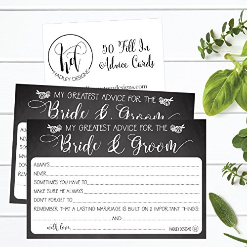 50 4x6 Rustic Chalk Wedding Advice & Well Wishes For The Bride and Groom Cards, Reception Wishing Guest Book Alternative, Bridal Shower Games Note Card Marriage Best Advice Bride To Be or For Mr & Mrs Photo #2