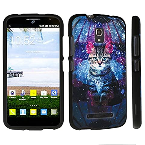 DuroCase ® Alcatel One Touch POP Mega LTE A995G Hard Case Black - (Space Cat) (Alcatel A995g Wallet Case)