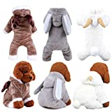 Queenmore Dog Costume, Cold Weather Warm Pet Clothes Hoodie Jumpsuit for Small Medium Large Dog (Coffee Elk, Grey Rubbit, White Sheep, 5 Sizes)