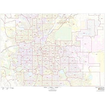Amazon.com: ZIP Code Wall Map of Denver, CO ZIP Code Map Laminated ...