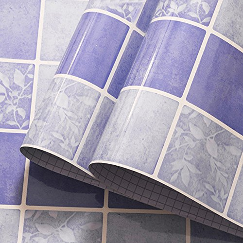 yazi Adhesive Brick Wall Art Pattern Tiles Paper Kitchen Cooking Rumes Resistant Wall Decorative Paper Purple Color