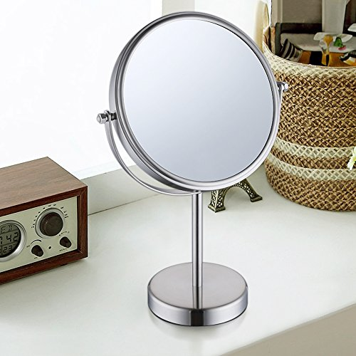 KES 8-Inch Two-Sided Makeup Mirror Tabletop Vanity Counter Top with Swivel 10x Magnification SUS 304 Stainless Steel Brushed Finish, BTM201M10-2