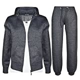 Kids Girls Boys Plain Tracksuit Hooded Hoodie Bottom Jogging Suit Joggers New Age 7 8 9 10 11 12 13 Year (11-12 Years, Charcoal)