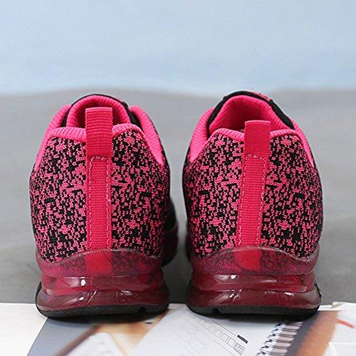 Wealsex Calzado De Running Para Mujer Amortiguamiento Transpirable Deportes Al Aire Libre Correr EN Asfalto Negro y rosa rojo