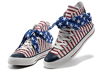 3924547c0954 Converse Shoes Red White Blue Scarf Chuck Taylor Classic Canvas Hi Sneakers  (Mens