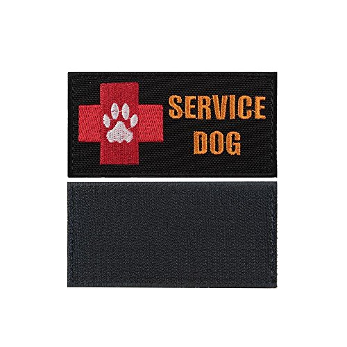 yisibo 2pieces-Service Dog Patch Embroidered Morale Hook and Loop Patch for Tactical K9 Harness Vest (Black)