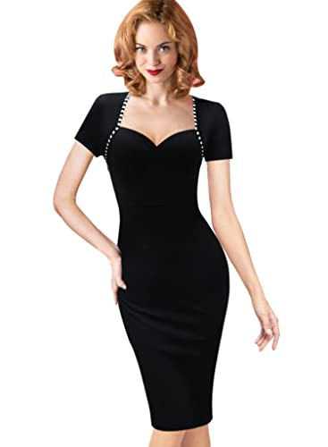 VfEmage Womens Vintage Wear to Work Office Casual Pencil Sheath Bodycon Dress