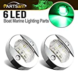 Partsam 3'' inch Round Navigation Light Boat Marine Green 6 LED Transom Mount Stern Anchor Clear Lens 12 Volts DC Chrome Bezel (Pack of 2)