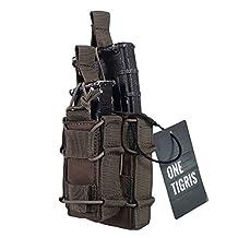 OneTigris Tactical MOLLE Magzine Pouch AR M4 M16 & Pistol Magazine Holder Open-Top Double Decker Mag Pouch