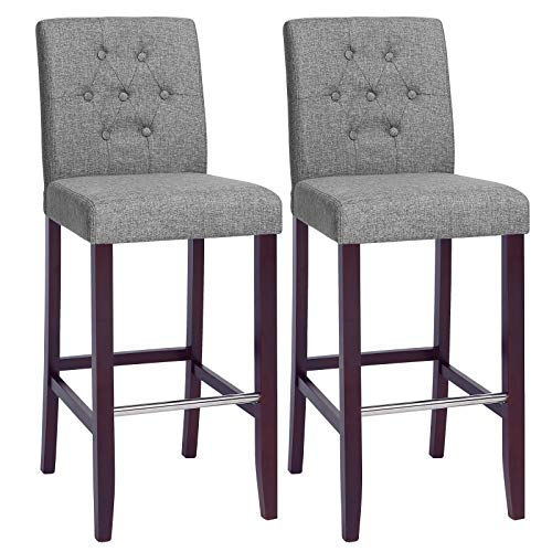 SONGMICS Set of 2 Bar Stools Kitchen Breakfast Chairs, with Button Tufted Backrest, Linen-Style Fabric, Solid Wood Legs, with Footrest, Light Gray ULDC35GYX