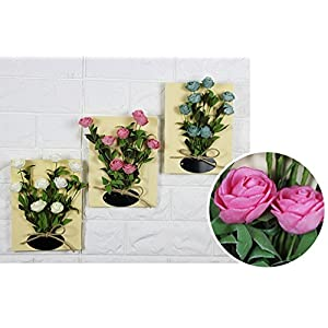 Skyseen 3PCS 3D Artificial Rose Flower Wall Decor Succulent Plants with Wood Art Frame and Wall Hanging (Small Wall Display Photo Frame) 35