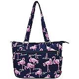 Ngil Quilted Cotton Shoulder Bag (Pink Flamingo Navy Blue)