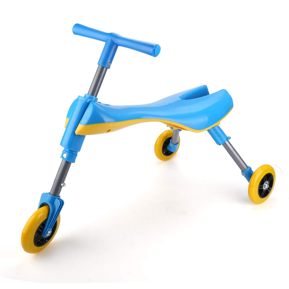 Freshday Toddlers Glide Tricycle for Indoor and Outdoor Use, Foldable Kids Fly Bike Trike Scooter, Non Scratch Wheels and No Assembly Required (Blue)