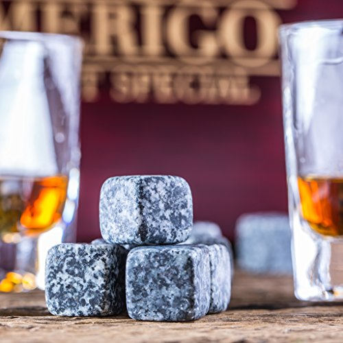 Impressive Whiskey Stones Gift Set with 2 Glasses - Be Different When Choosing a Gift - Luxury Handmade Box with 8 Granite Whiskey Rocks, Ice Tongs & Velvet Bag - Ice Cubes Reusable - Best Man Gift by Amerigo (Image #5)
