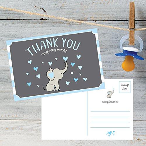 50 4x6 Elephant Boy Baby Shower Thank You Postcards Bulk, Beautiful Modern Cute Boho Blue Blank Thanks Note Card Stationery Appreciation Set Photo #3