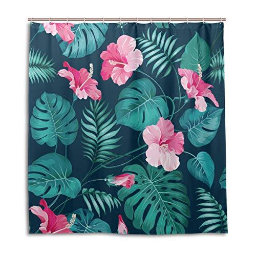 Amanda Billy Green Hawaiian Tropical Hibiscus Flowers Natural Home Shower Curtain, Beaded Ring, Shower Curtain 72 x 72 Inches, Modern Decorative Waterproof Bathroom Curtains