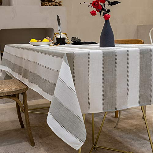 "TEWENE Tablecloth, Rectangle Table Cloth Cotton Linen Wrinkle Free Anti-Fading Tablecloths Washable Dust-Proof Table Cover for Dining Kitchen (Rectangle/Oblong, 55""x70"",4-6 Seats, White&Light Grey)"