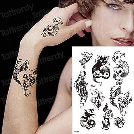 tzxdbh ctattoo Gato Negro Tatuajes del Diablo Etiqueta Temporal ...