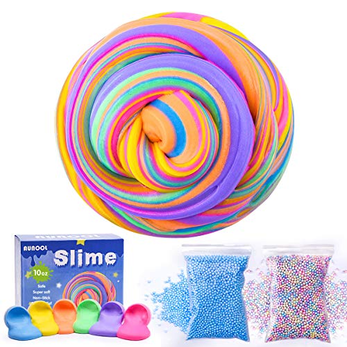 AUNOOL Fluffy Slime - 10 OZ Fluffy Floam Slime Putty Cool Textures, Super Soft Non Sticky Smell Scented Stress Relief Toy Kids (6 Pack)