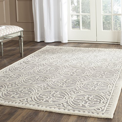 Safavieh Cambridge Collection CAM123D Handcrafted Moroccan Geometric Silver and Ivory Premium Wool Area Rug (10' x 14')