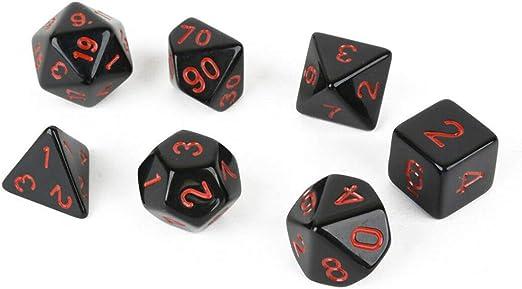 Runme 7pcs múltiples Caras Dados de acrílico Negro Juegos de Mesa tintos Herramientas Números geométrica Doble Color Kit cuadritos: Amazon.es: Hogar